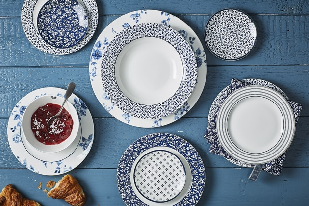 Blue Print aura Ashley mesa , platos 4homemenaje