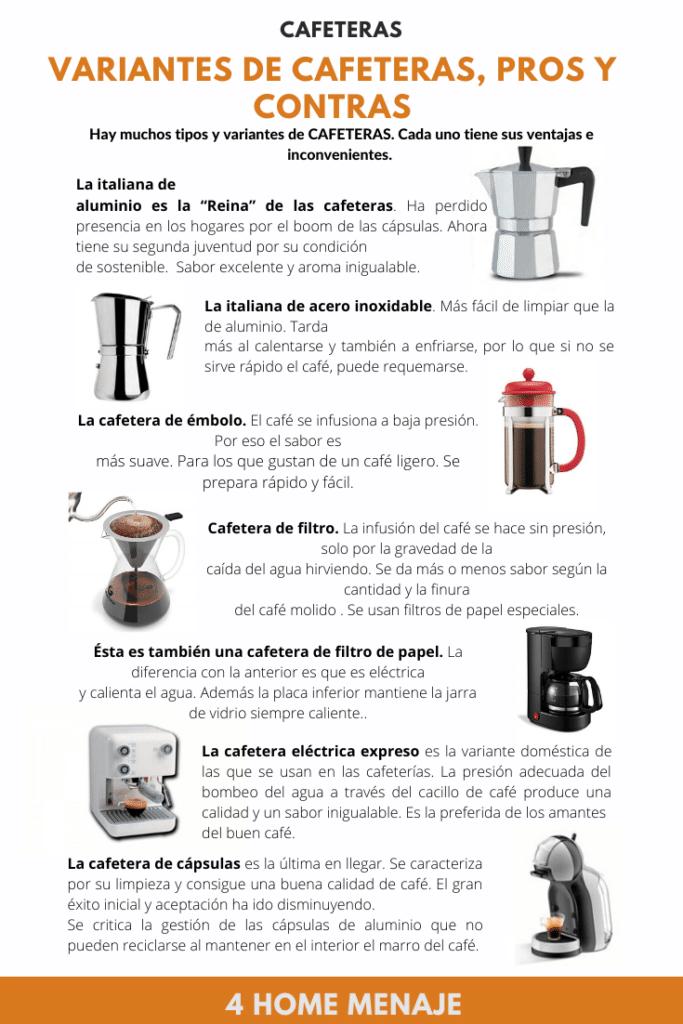 tipos de cafeteras infografia