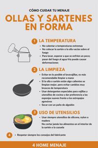 Infografia de Ollas y sartenes y sus cuidados